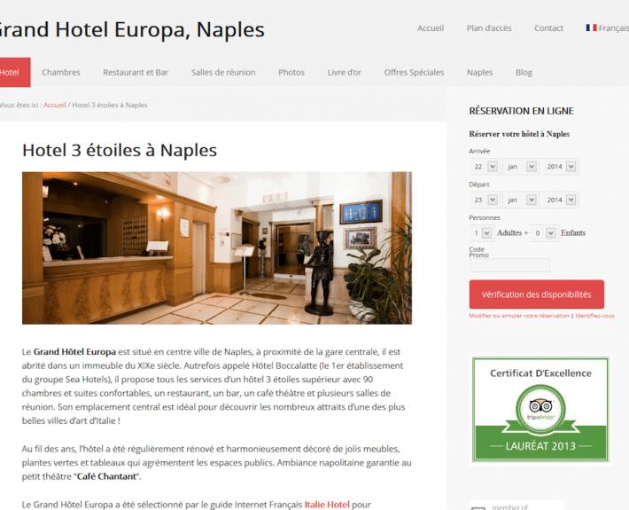 Portfolio : Grand Hotel Europa, Naples (page hotel)