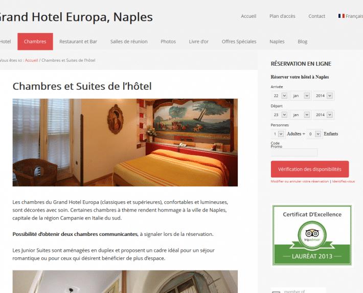 Portfolio : Grand Hotel Europa, Naples (page chambres)